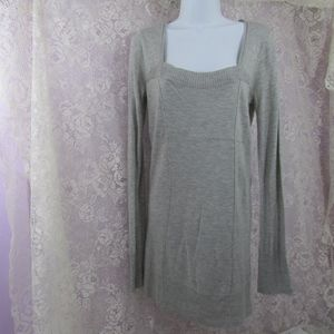 Trouve Gray Sweater Tunic Square Neck Size Large